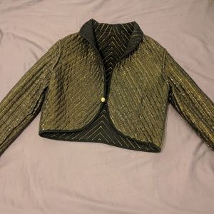 Vintage cropped quilted light coat, double sided